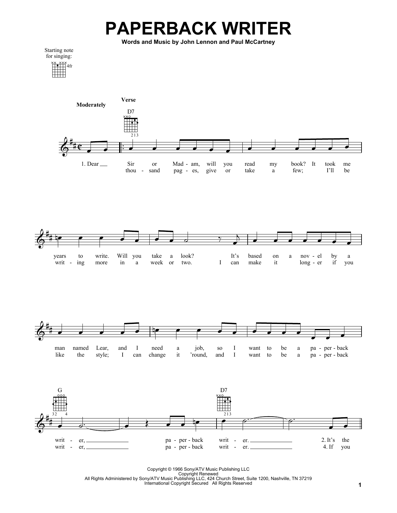 Tablature guitare Paperback Writer de The Beatles - Tablature guitare facile