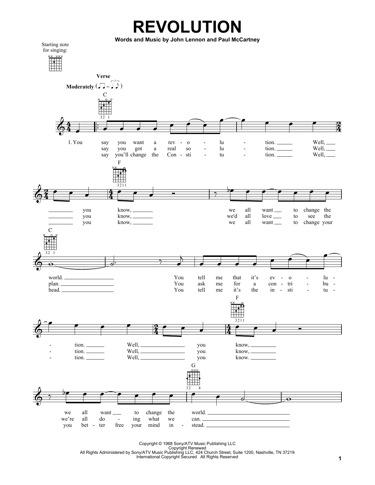 Tablature guitare Revolution de The Beatles - Tablature guitare facile