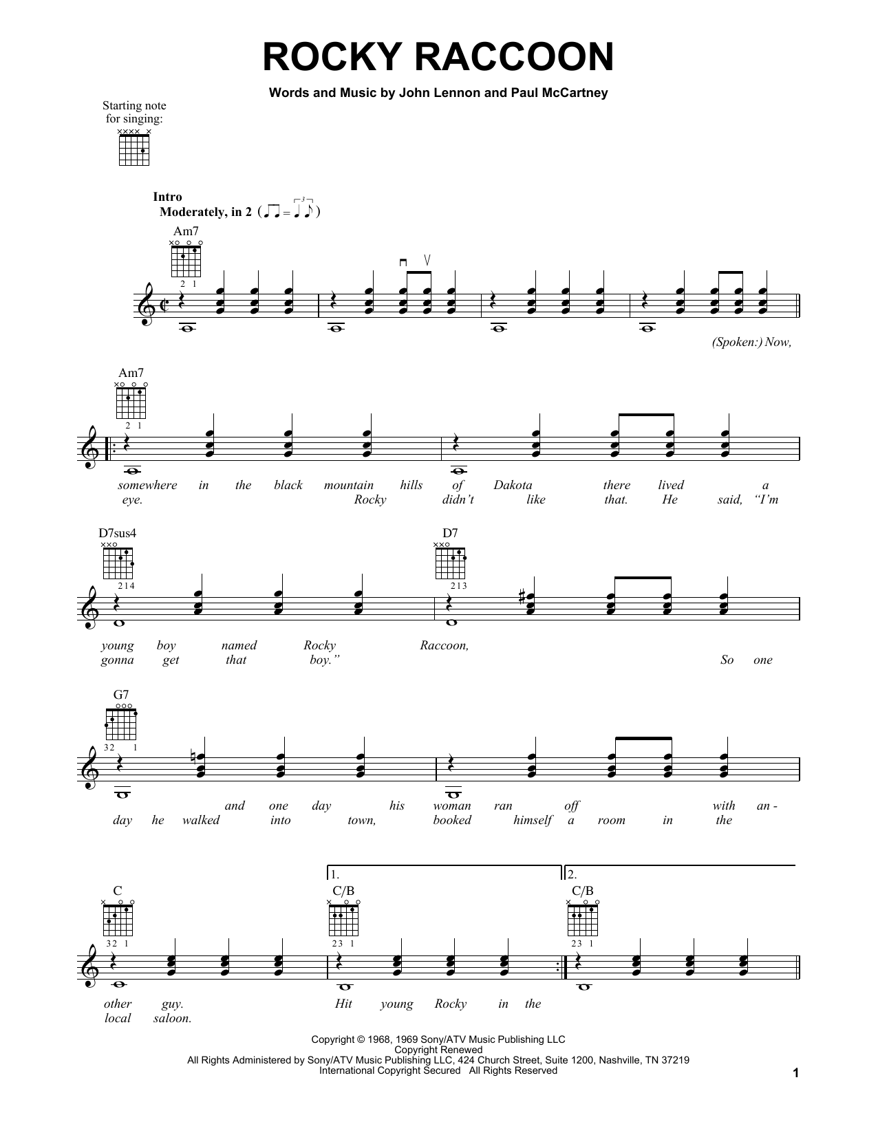 Tablature guitare Rocky Raccoon de The Beatles - Tablature guitare facile