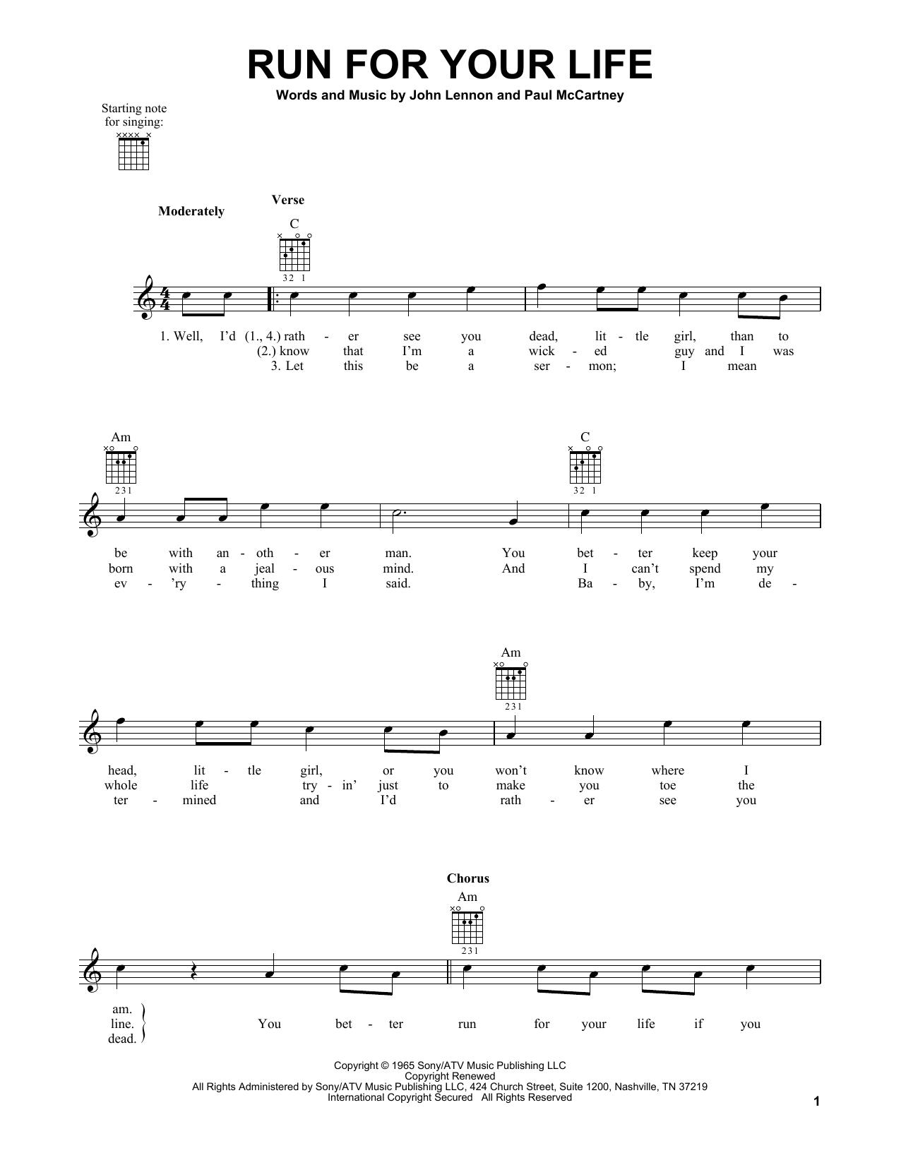 Tablature guitare Run For Your Life de The Beatles - Tablature guitare facile
