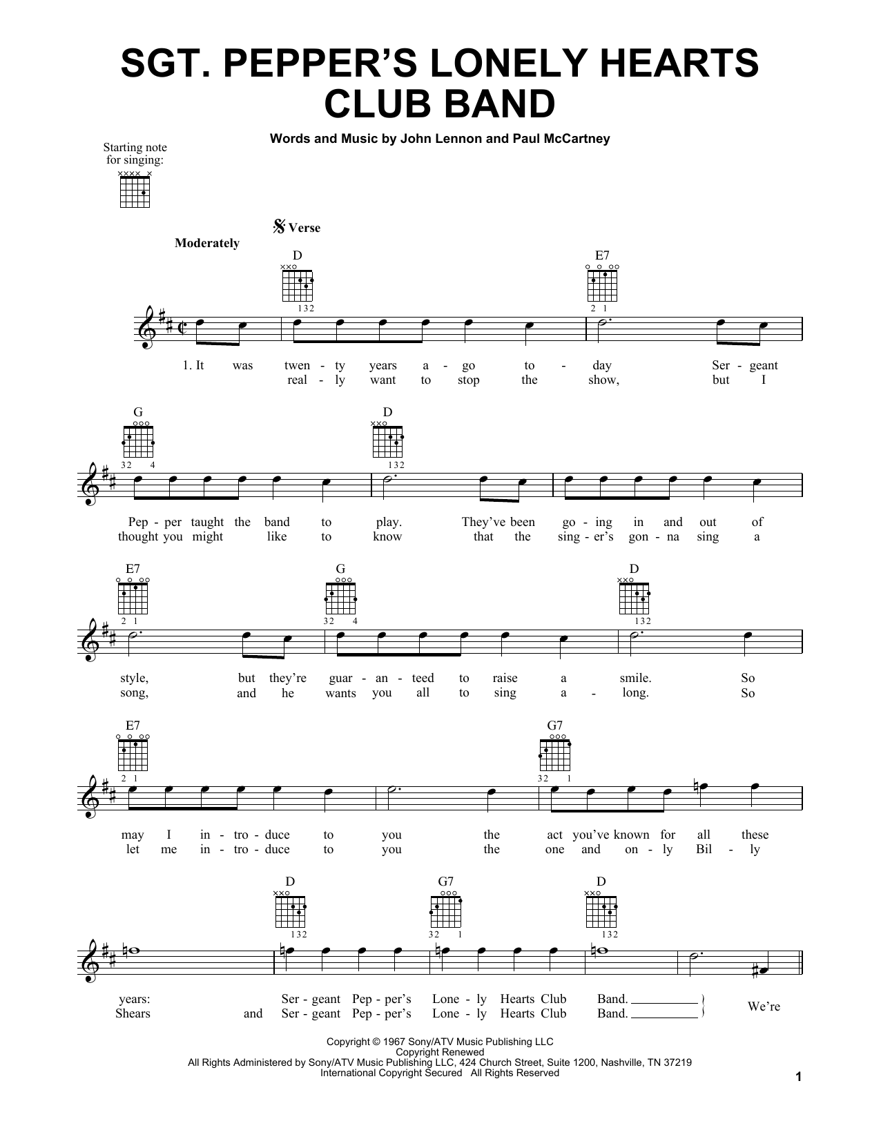 Tablature guitare Sgt. Pepper's Lonely Hearts Club Band de The Beatles - Tablature guitare facile