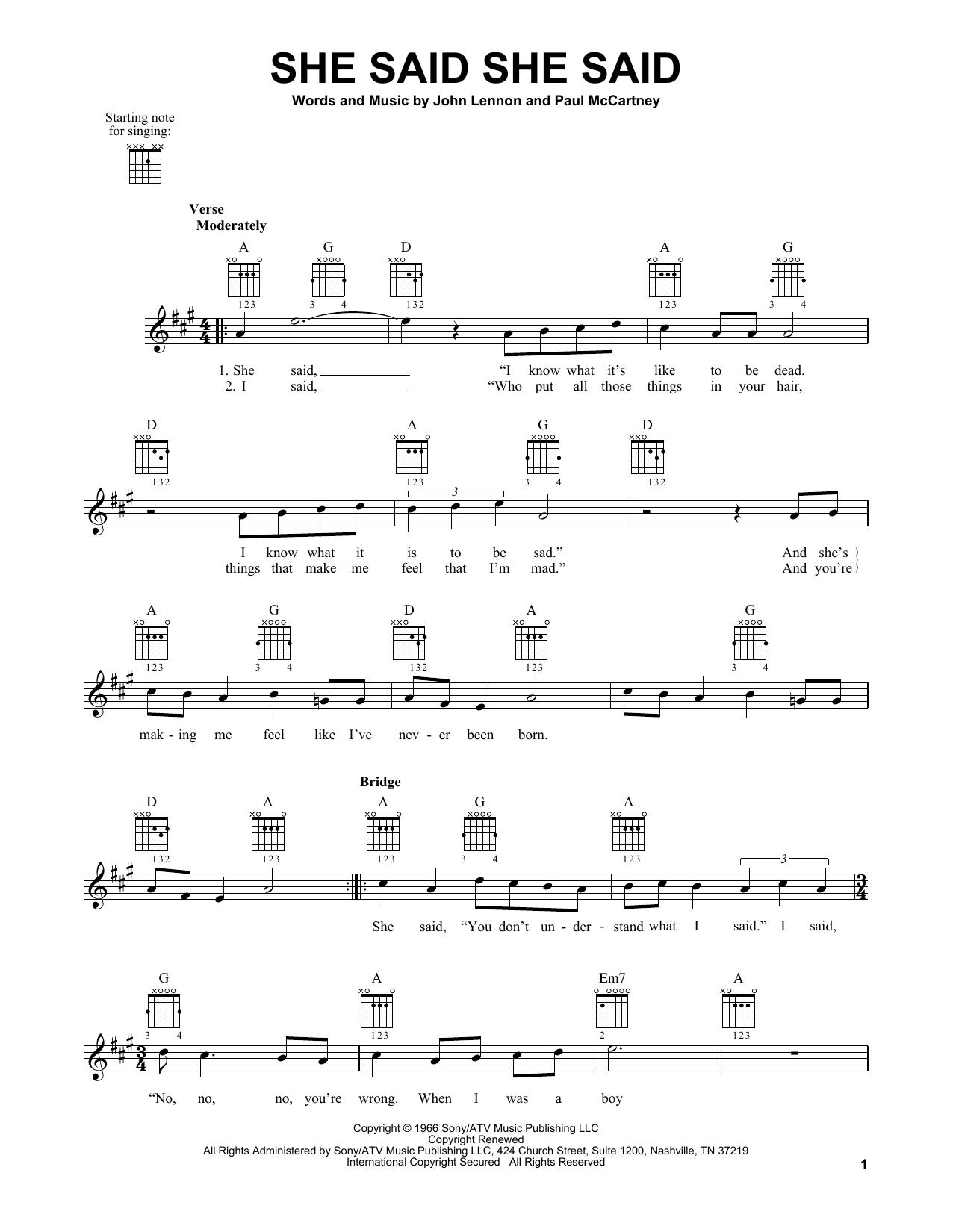 Tablature guitare She Said She Said de The Beatles - Tablature guitare facile
