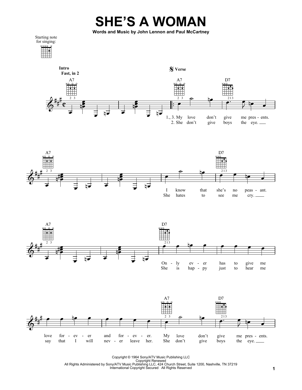 Tablature guitare She's A Woman de The Beatles - Tablature guitare facile