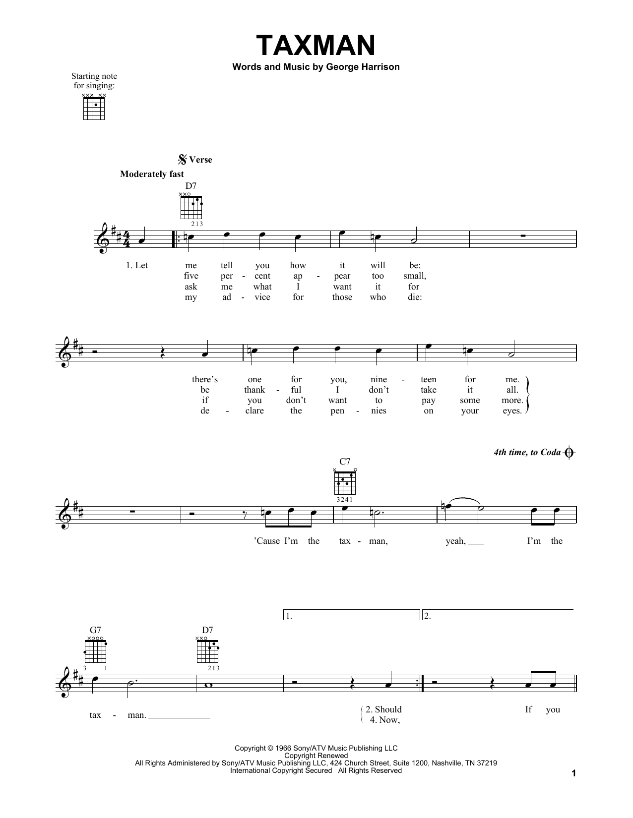 Tablature guitare Taxman de The Beatles - Tablature guitare facile