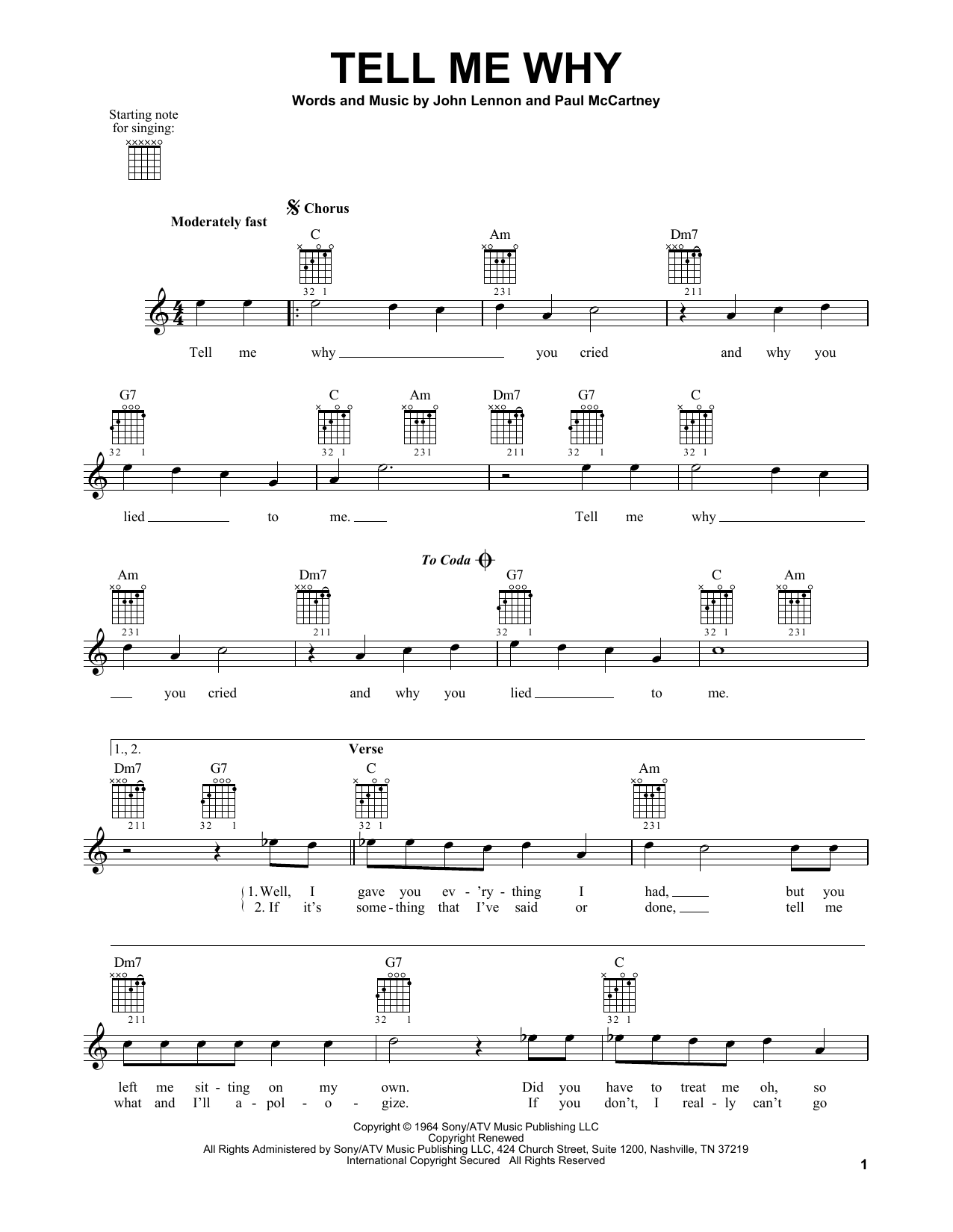 Tablature guitare Tell Me Why de The Beatles - Tablature guitare facile