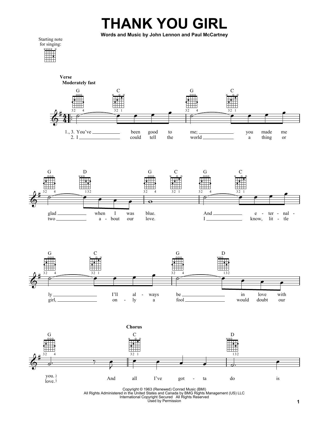 Tablature guitare Thank You Girl de The Beatles - Tablature guitare facile