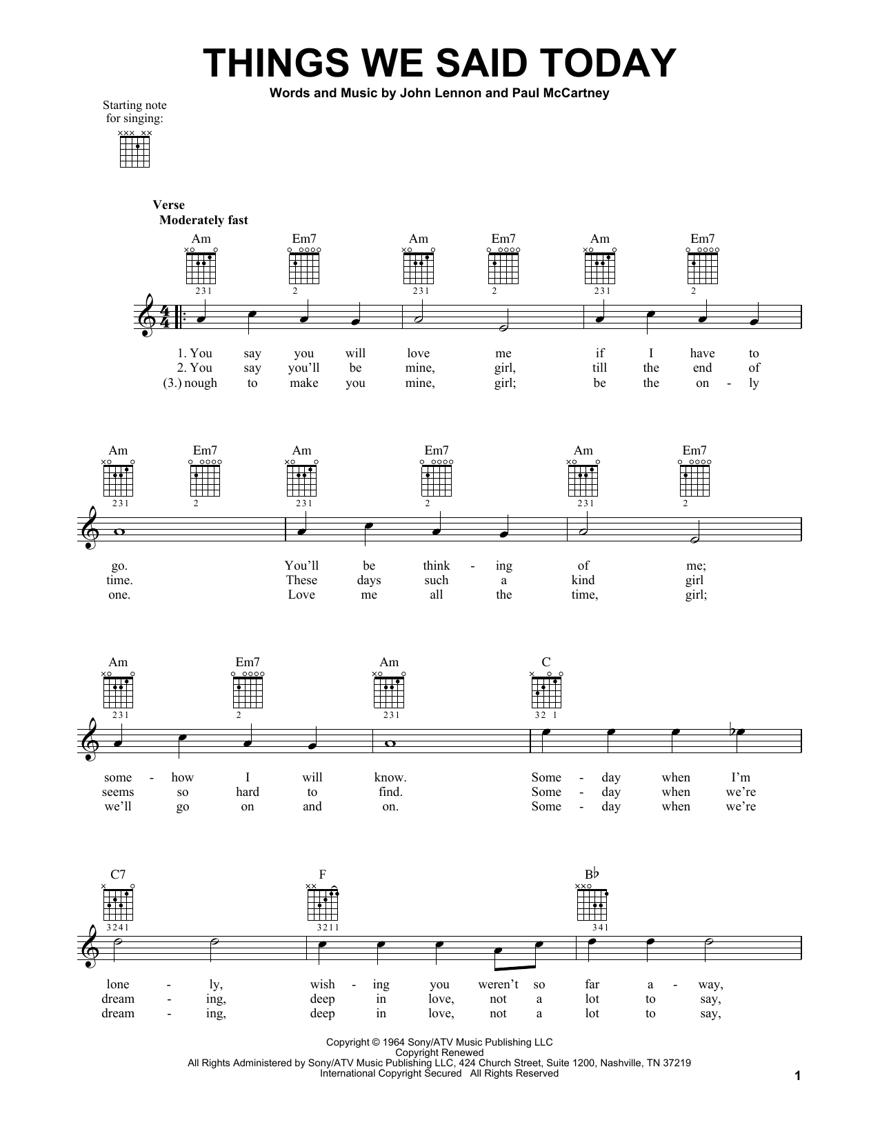 Tablature guitare Things We Said Today de The Beatles - Tablature guitare facile