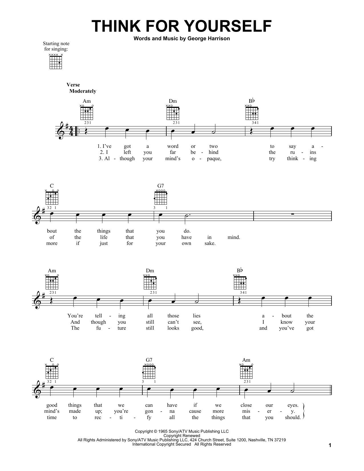 Tablature guitare Think For Yourself de The Beatles - Tablature guitare facile