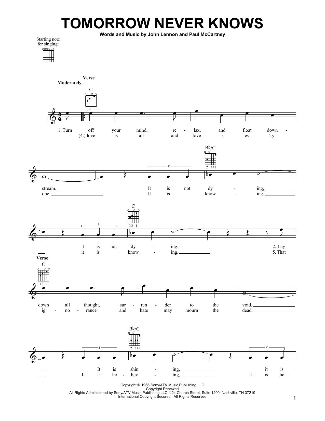 Tablature guitare Tomorrow Never Knows de The Beatles - Tablature guitare facile