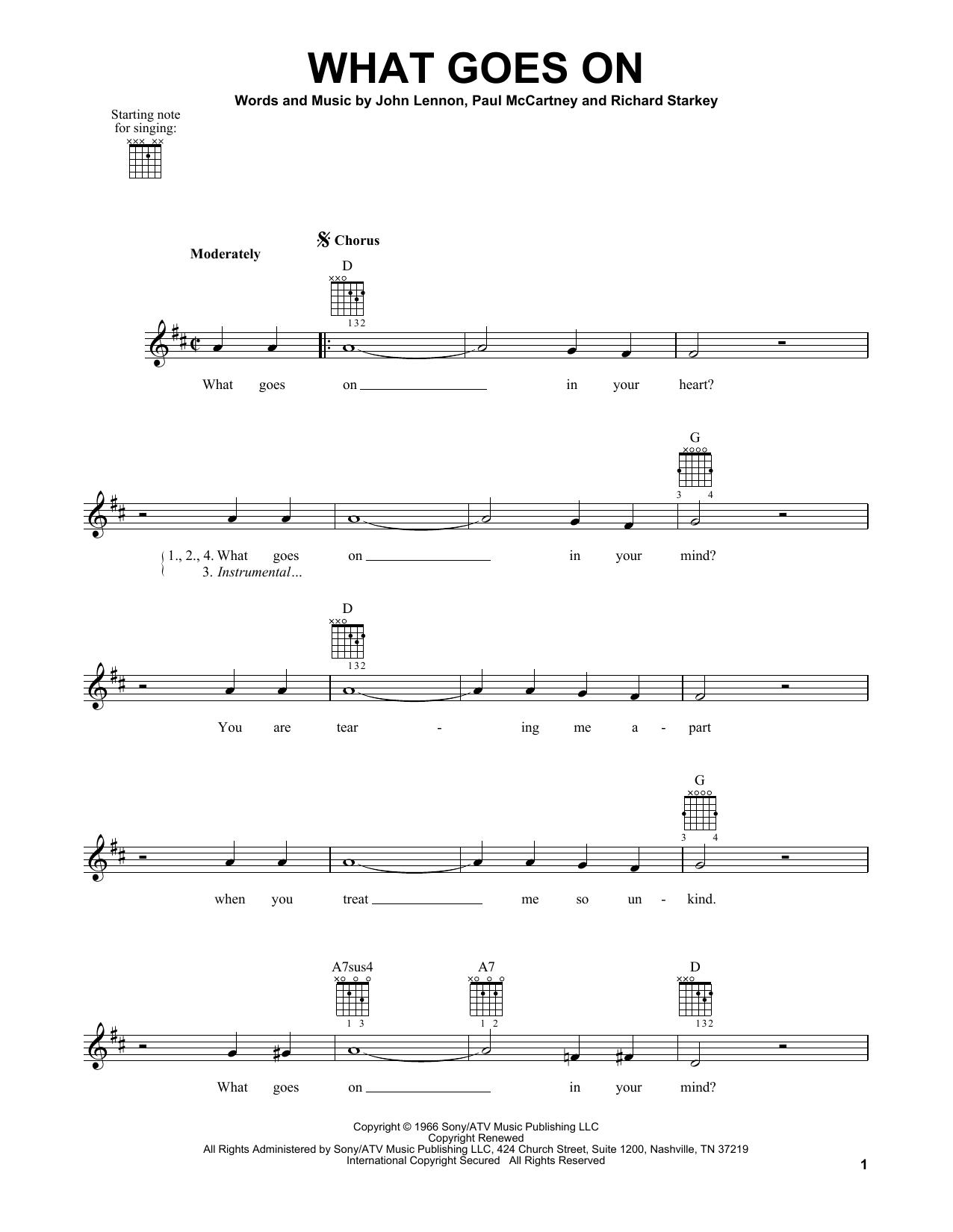 Tablature guitare What Goes On de The Beatles - Tablature guitare facile