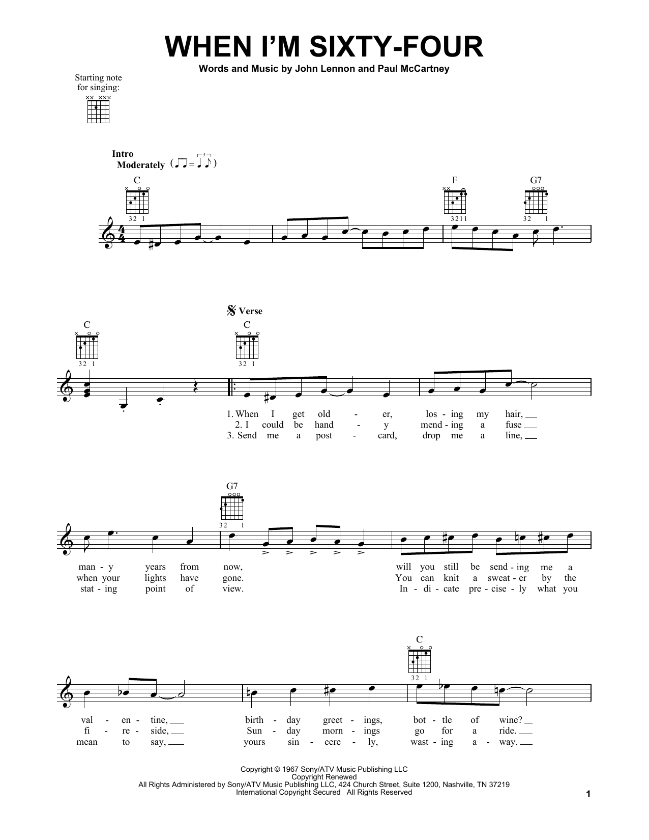 Tablature guitare When I'm Sixty-Four de The Beatles - Tablature guitare facile