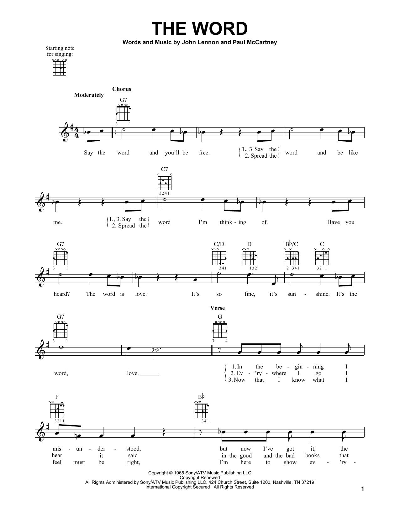 Tablature guitare The Word de The Beatles - Tablature guitare facile