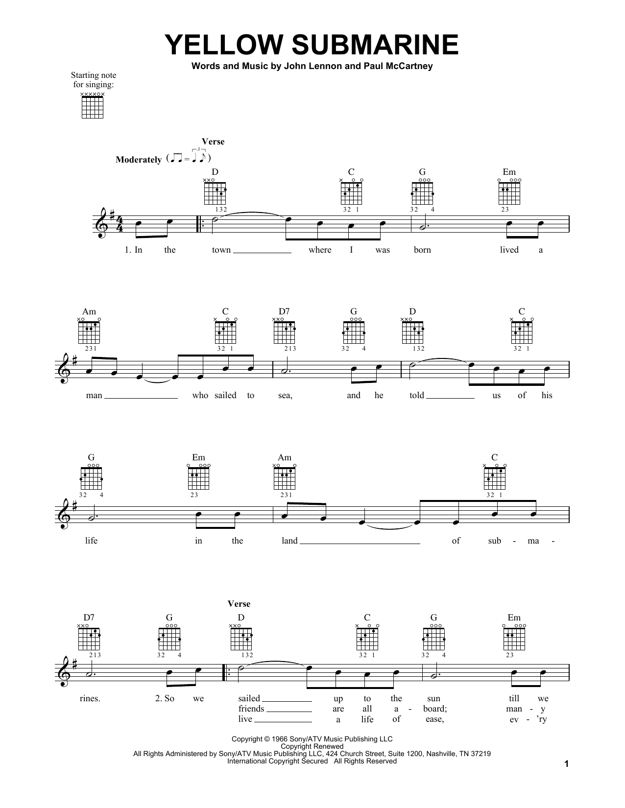 Tablature guitare Yellow Submarine de The Beatles - Tablature guitare facile