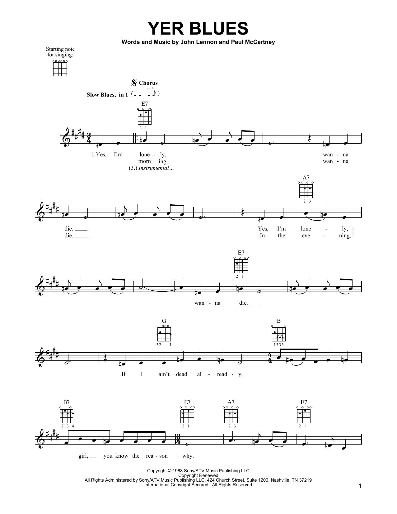 Tablature guitare Yer Blues de The Beatles - Tablature guitare facile