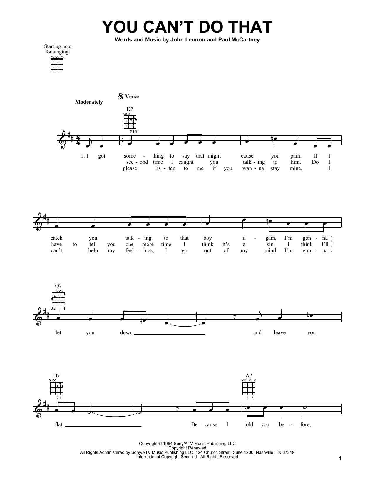 Tablature guitare You Can't Do That de The Beatles - Tablature guitare facile