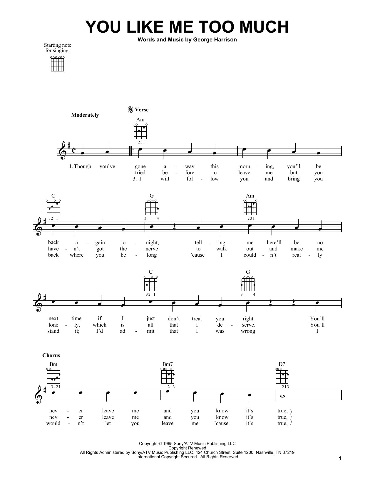 Tablature guitare You Like Me Too Much de The Beatles - Tablature guitare facile
