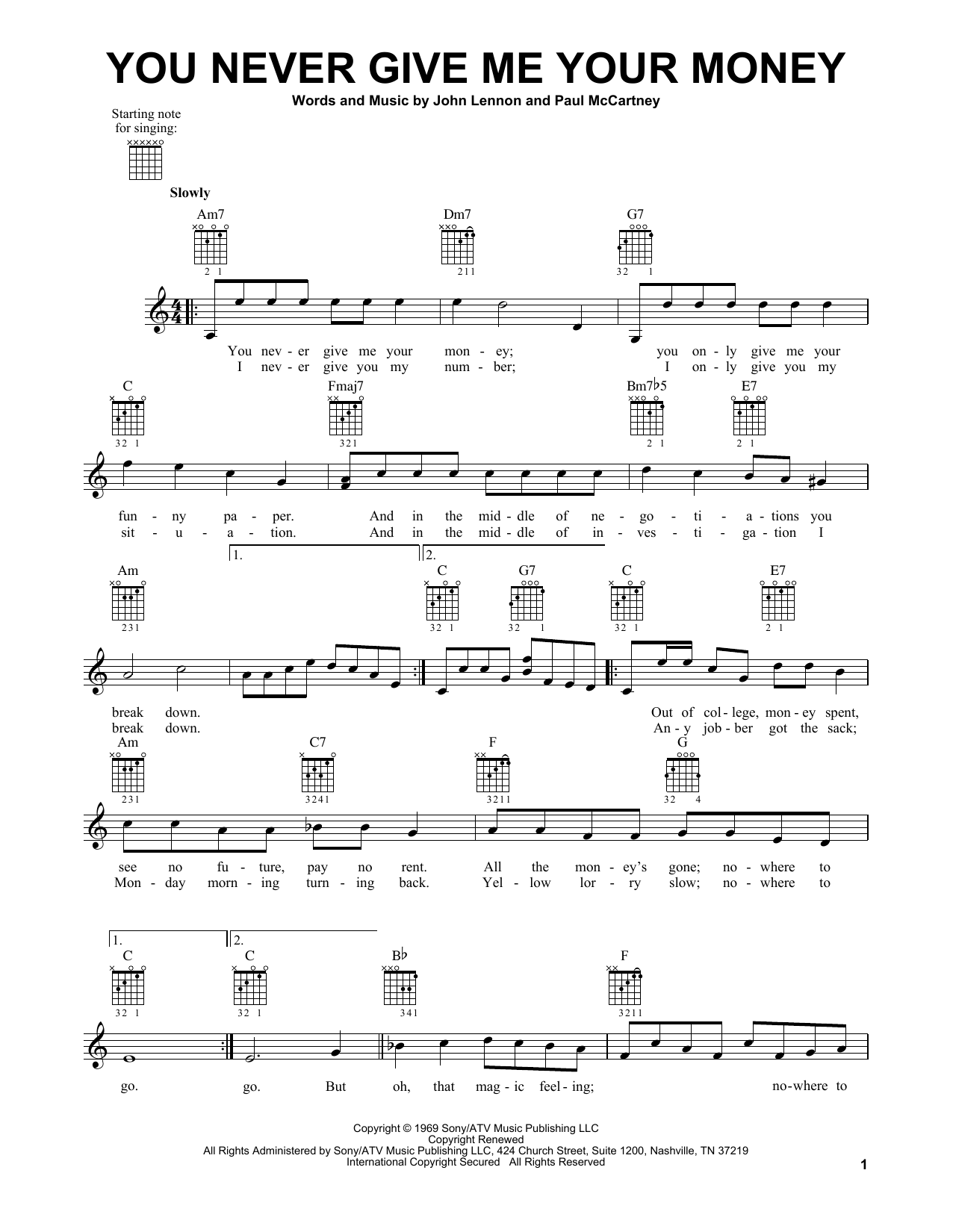 Tablature guitare You Never Give Me Your Money de The Beatles - Tablature guitare facile