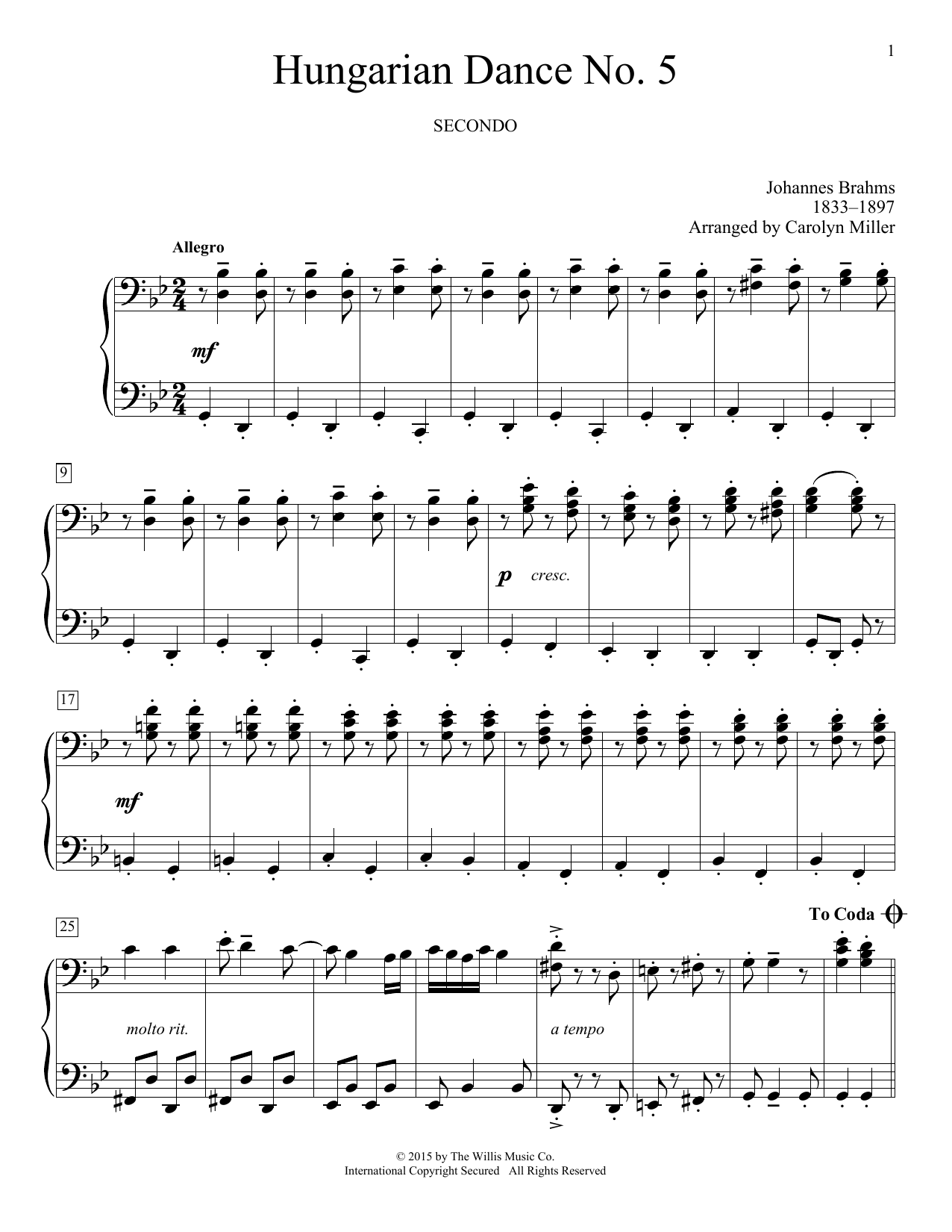 Partition piano Hungarian Dance No. 5 de Carolyn Miller - 4 mains