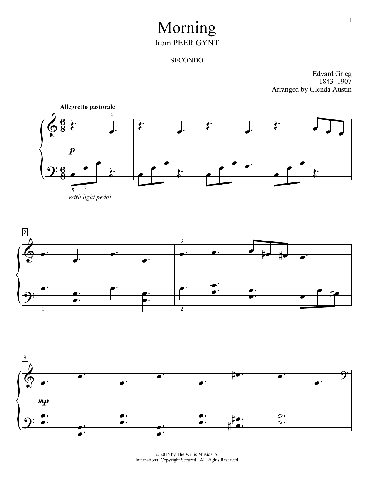 Partition piano Morning de Glenda Austin - 4 mains