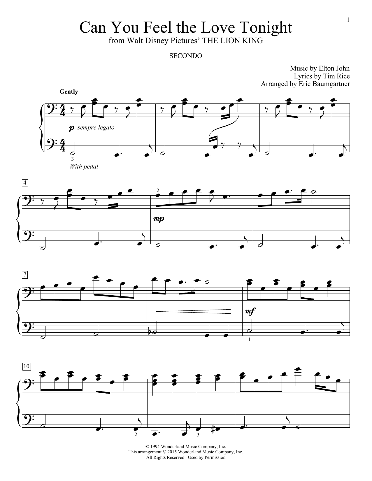 Partition piano Can You Feel The Love Tonight de Eric Baumgartner - 4 mains
