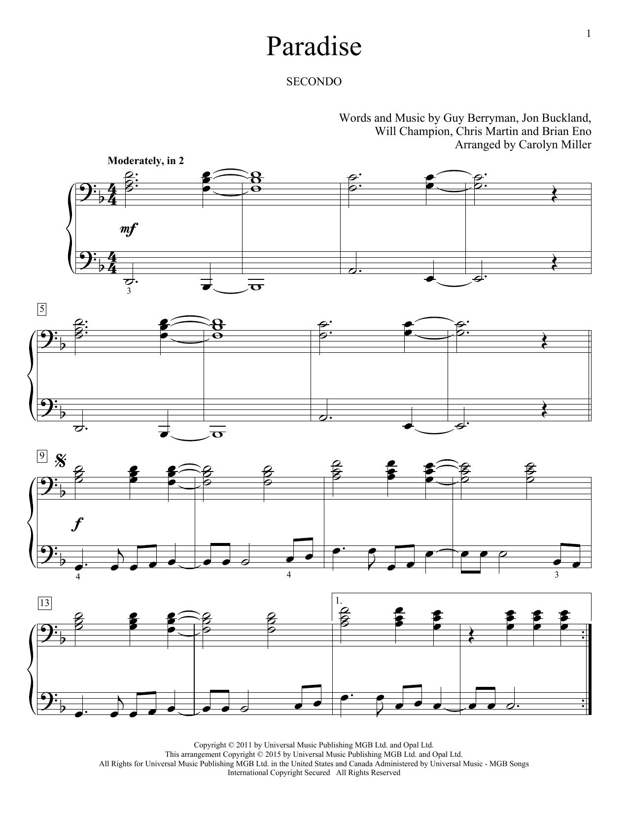 Partition piano Paradise de Carolyn Miller - 4 mains