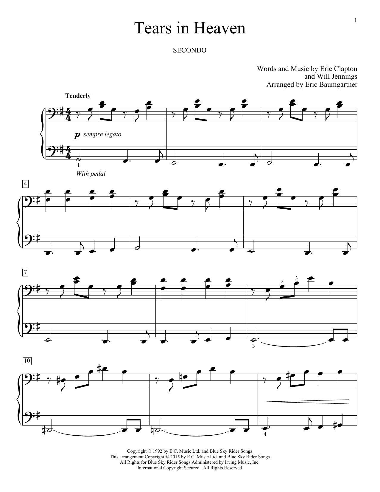 Partition piano Tears In Heaven de Eric Baumgartner - 4 mains