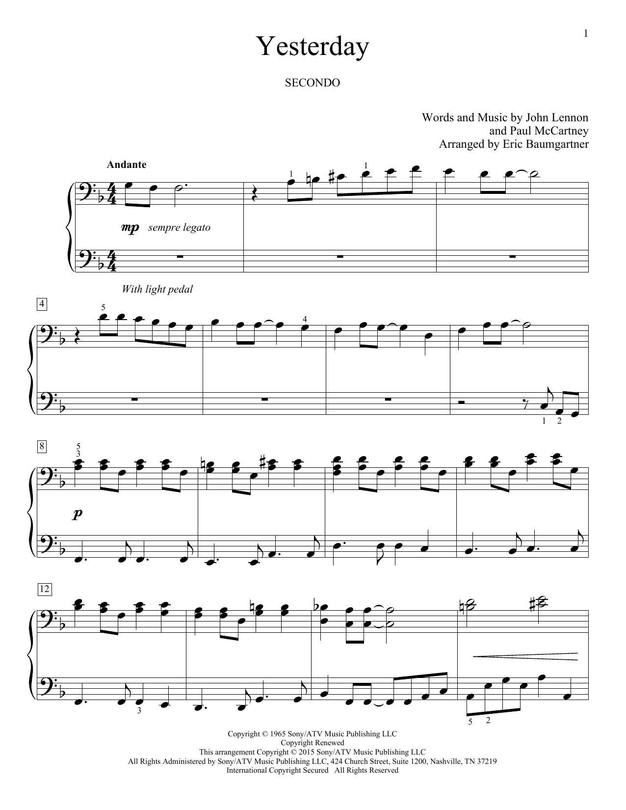 Partition piano Yesterday de Eric Baumgartner - 4 mains