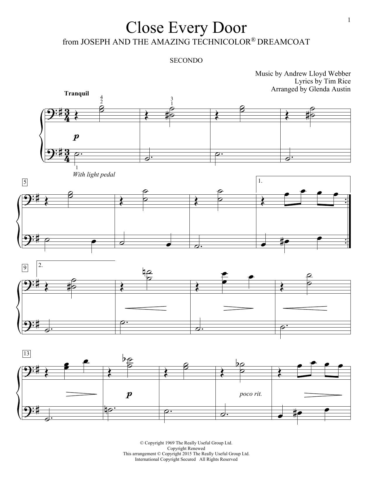 Partition piano Close Every Door de Glenda Austin - 4 mains