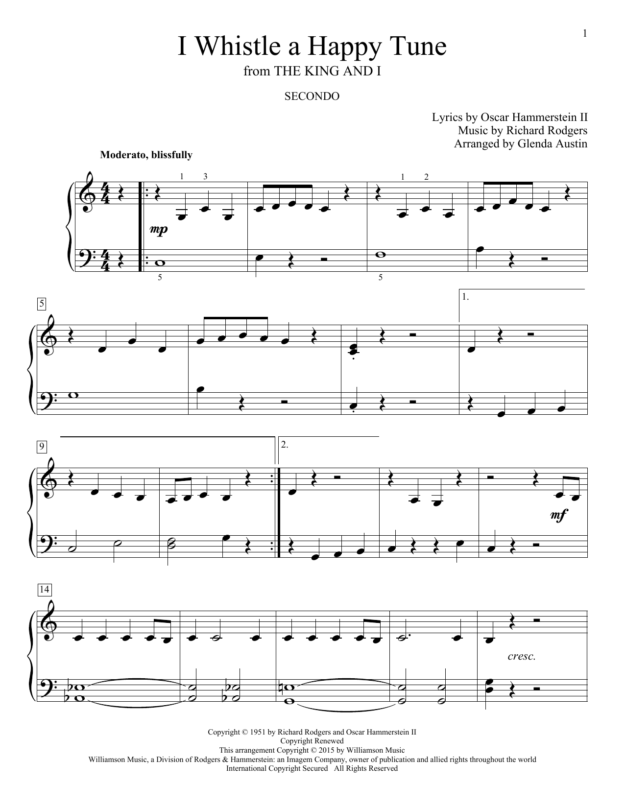 Partition piano I Whistle A Happy Tune de Glenda Austin - 4 mains