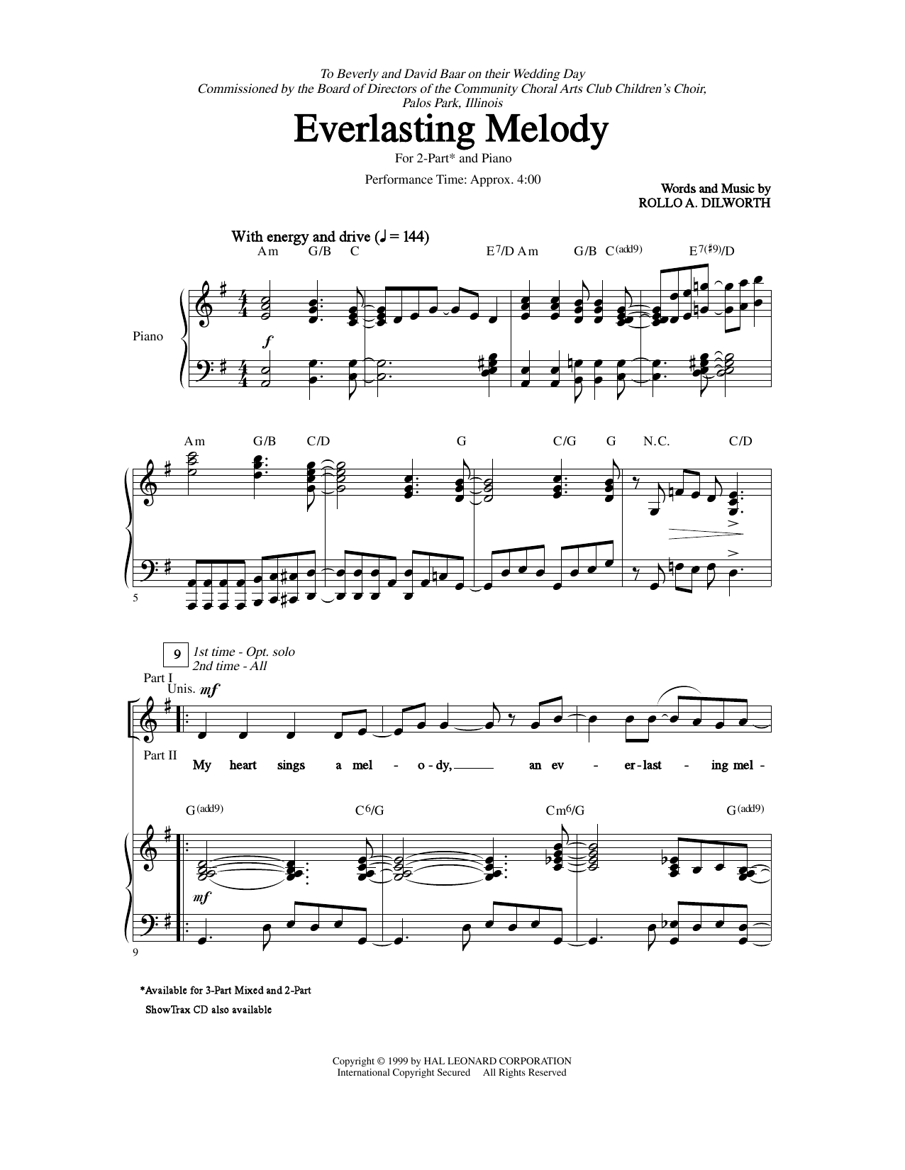 Partition chorale Everlasting Melody de Rollo Dilworth - 2 voix