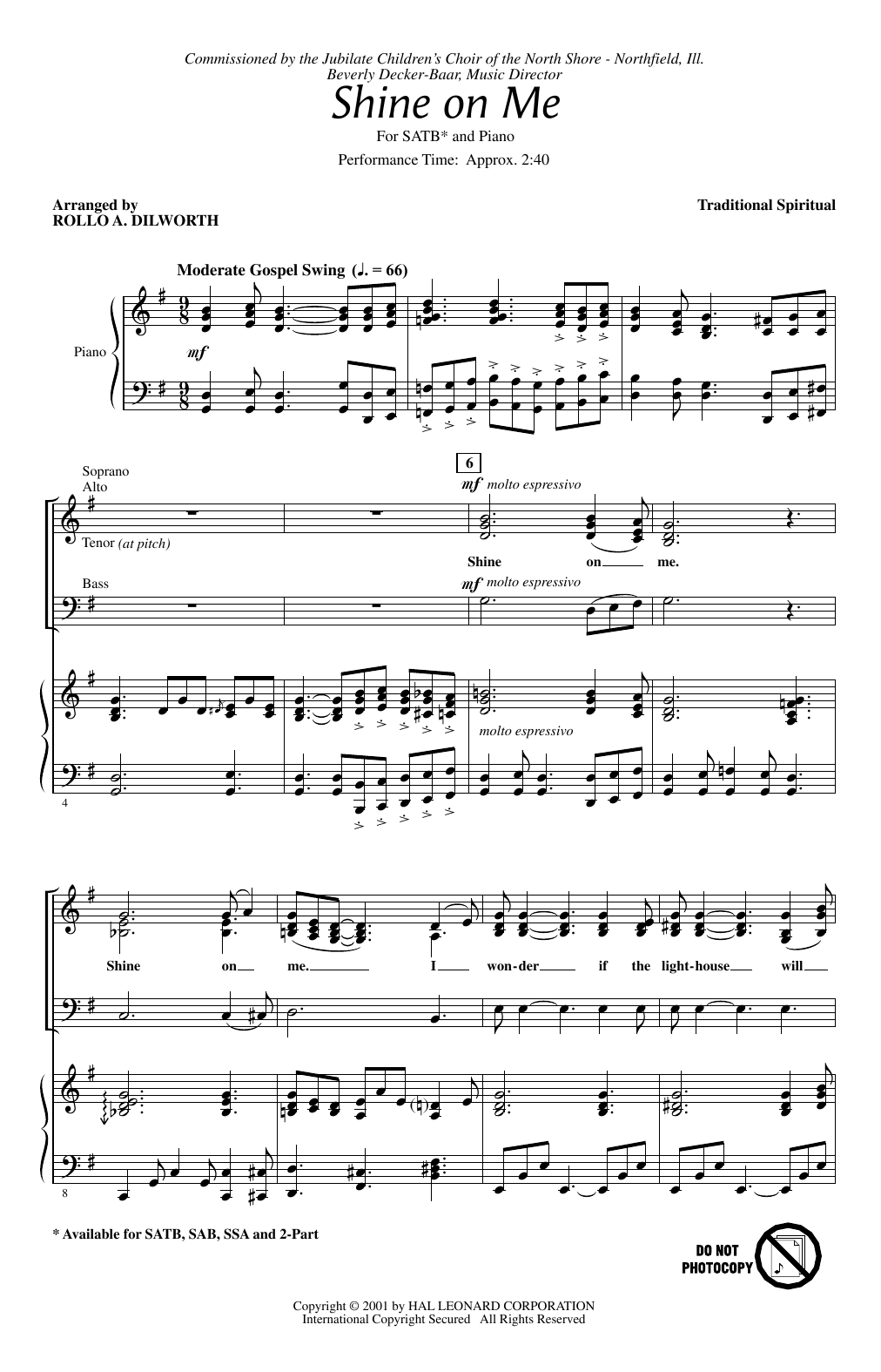 Partition chorale Shine On Me (arr. Rollo Dilworth) de Traditional Spiritual - SATB