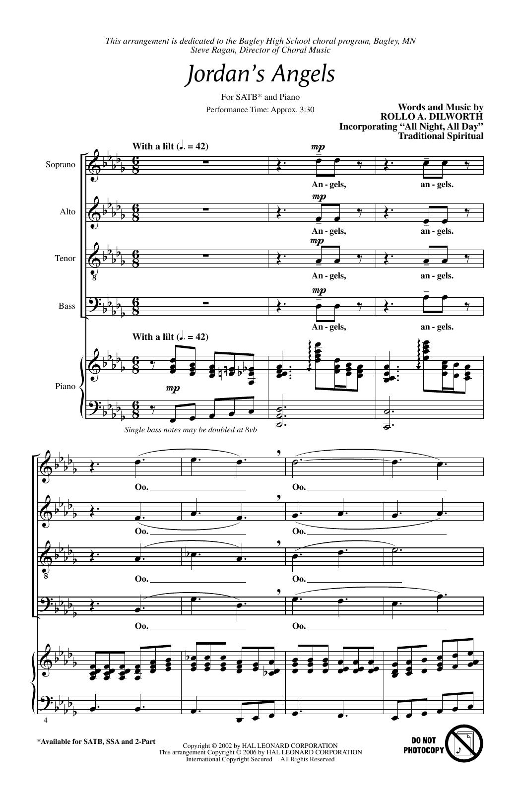 Partition chorale Jordan's Angels de Rollo Dilworth - SATB