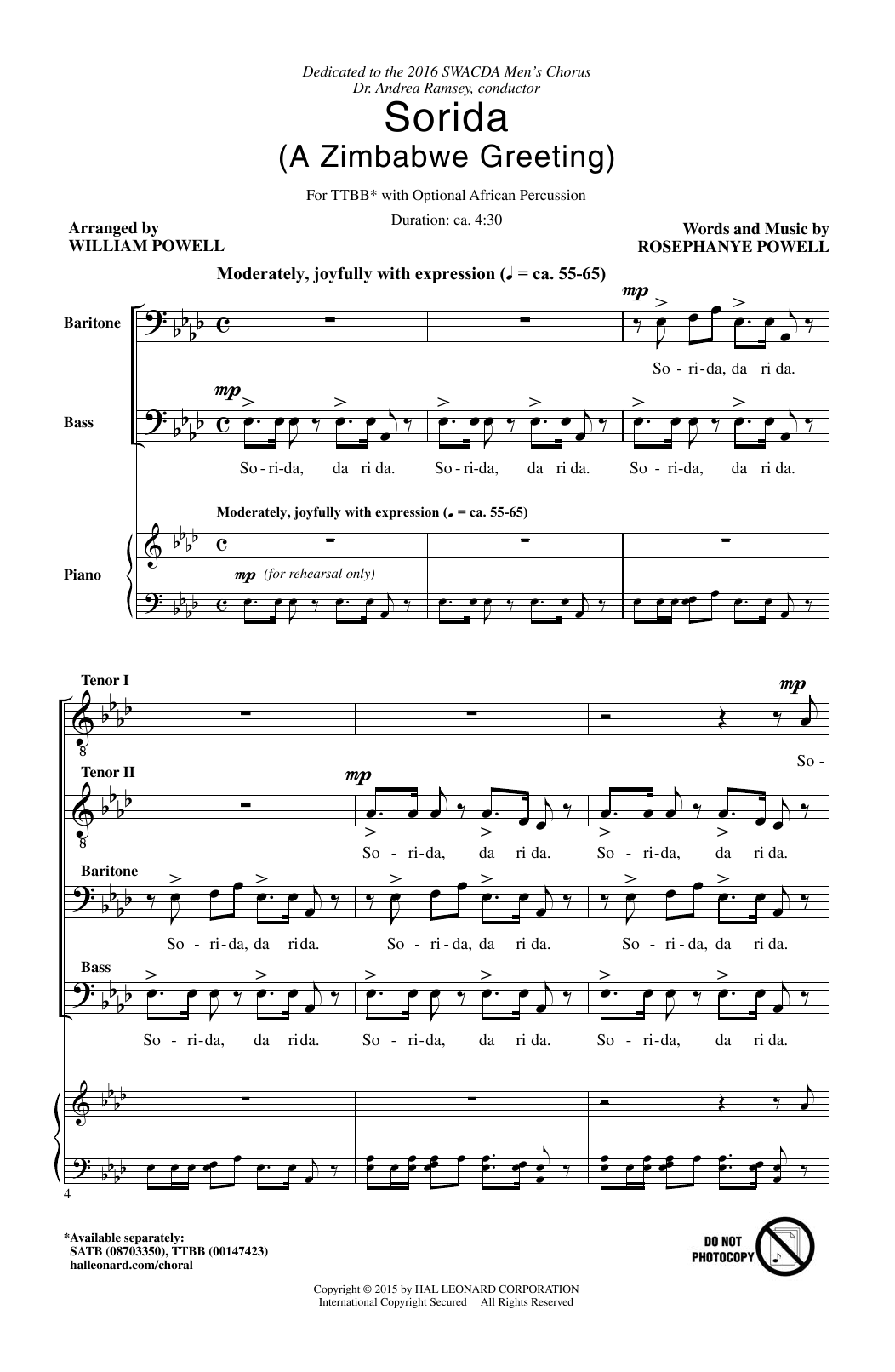 Partition chorale Sorida de Rosephanye Powell - TTBB