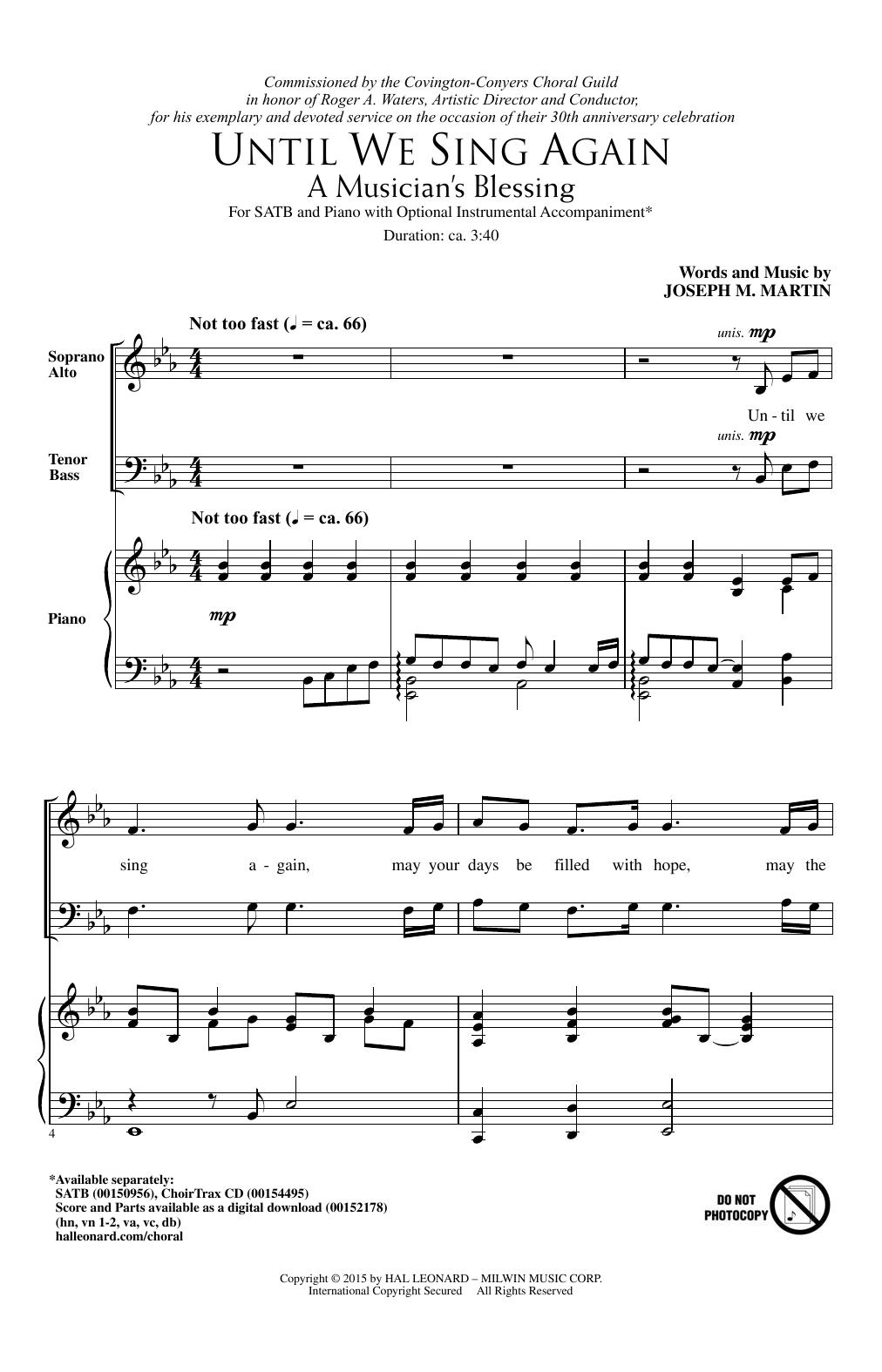 Partition chorale Until We Sing Again (A Musician's Blessing) de Joseph M. Martin - SATB