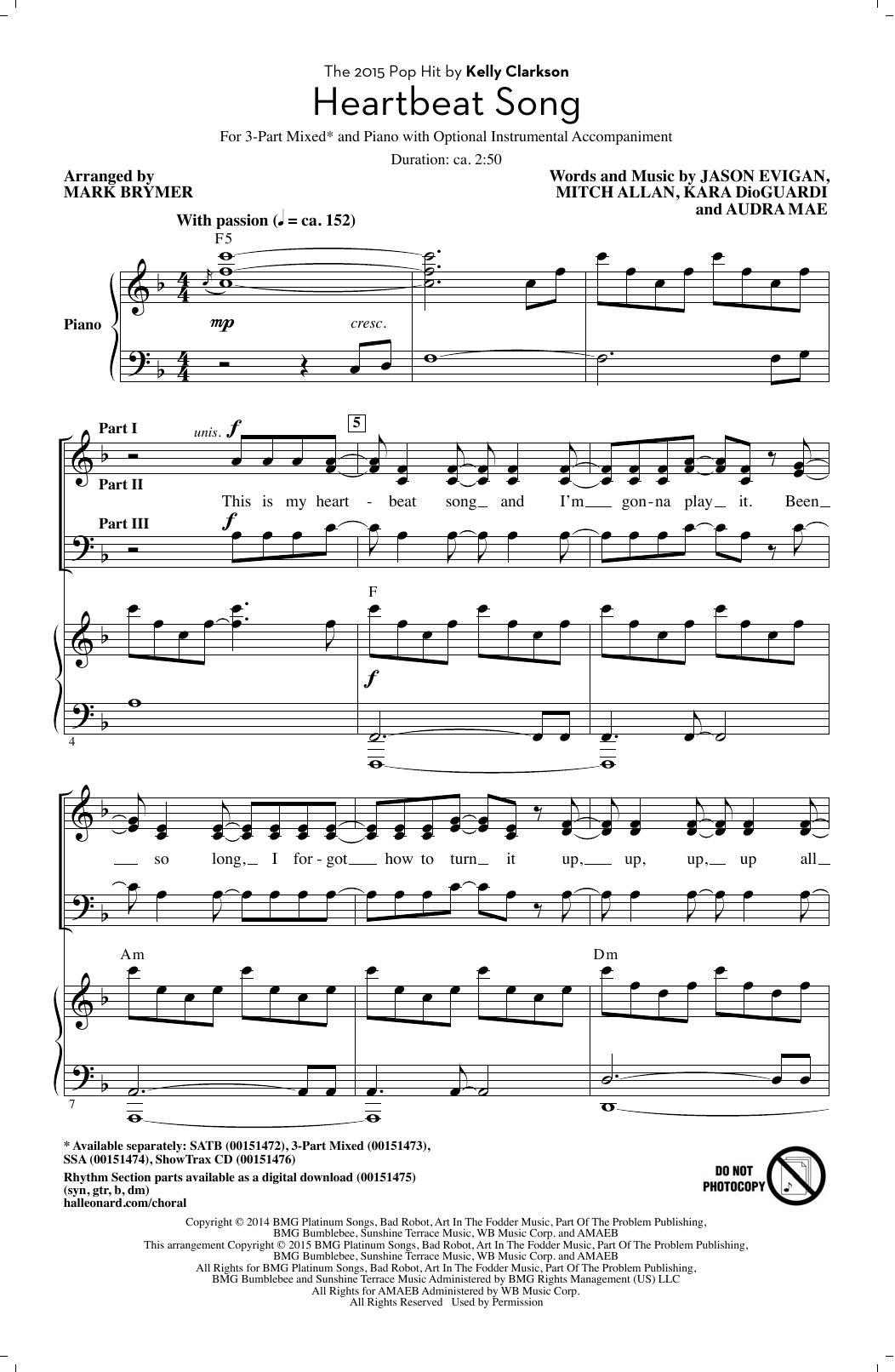 Partition chorale Heartbeat Song (arr. Mark Brymer) de Kelly Clarkson - 3 voix mixtes