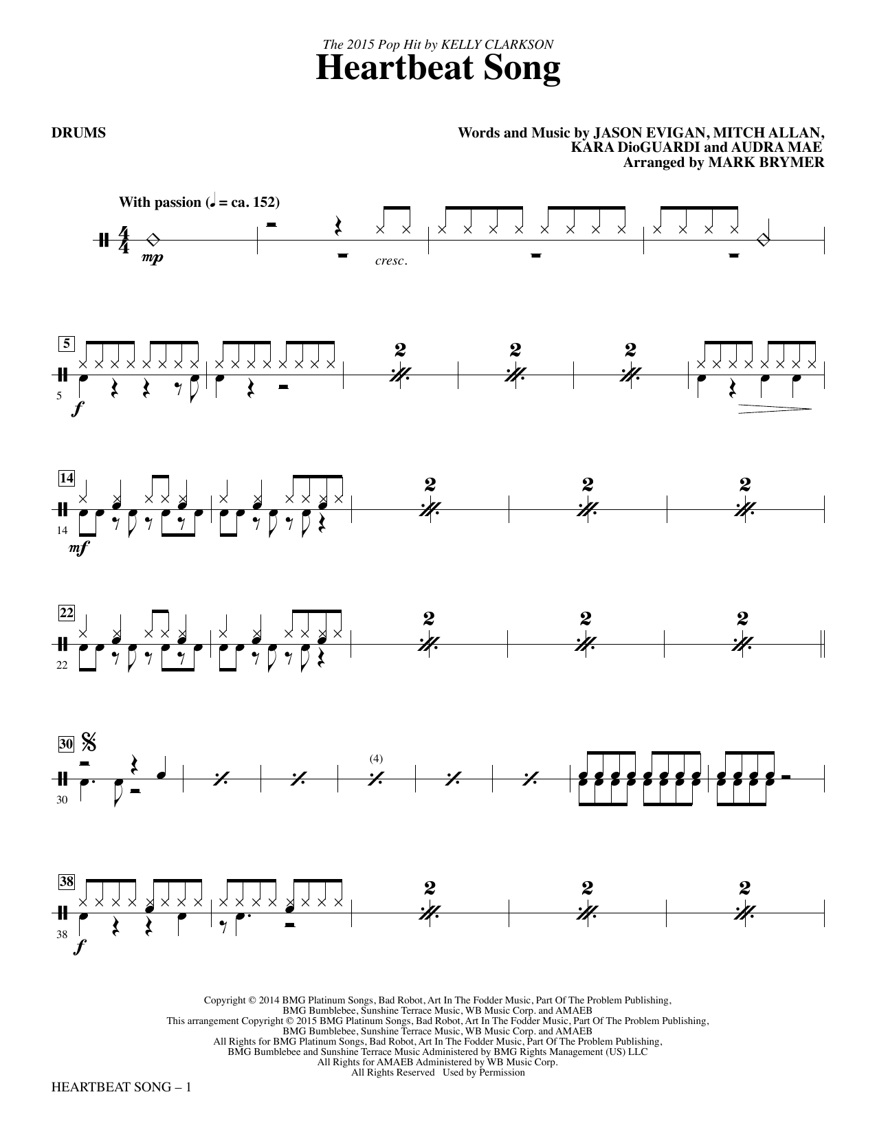 Heartbeat Song (complete set of parts) sheet music for orchestra/band by Mark Brymer