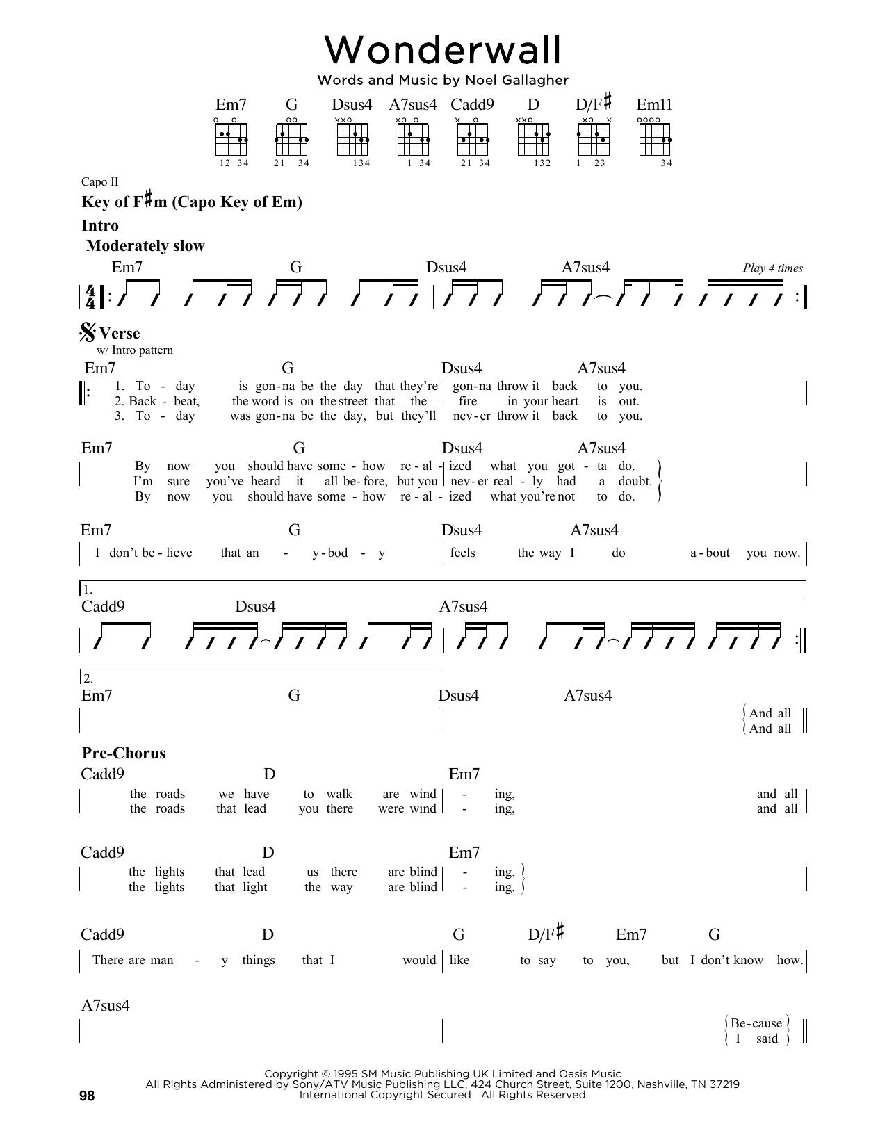 Partition autre Wonderwall de Oasis - Tablature Guitare Lead