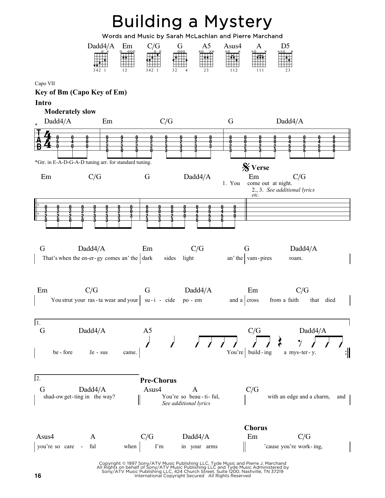 Partition autre Building A Mystery de Sarah McLachlan - Tablature Guitare Lead