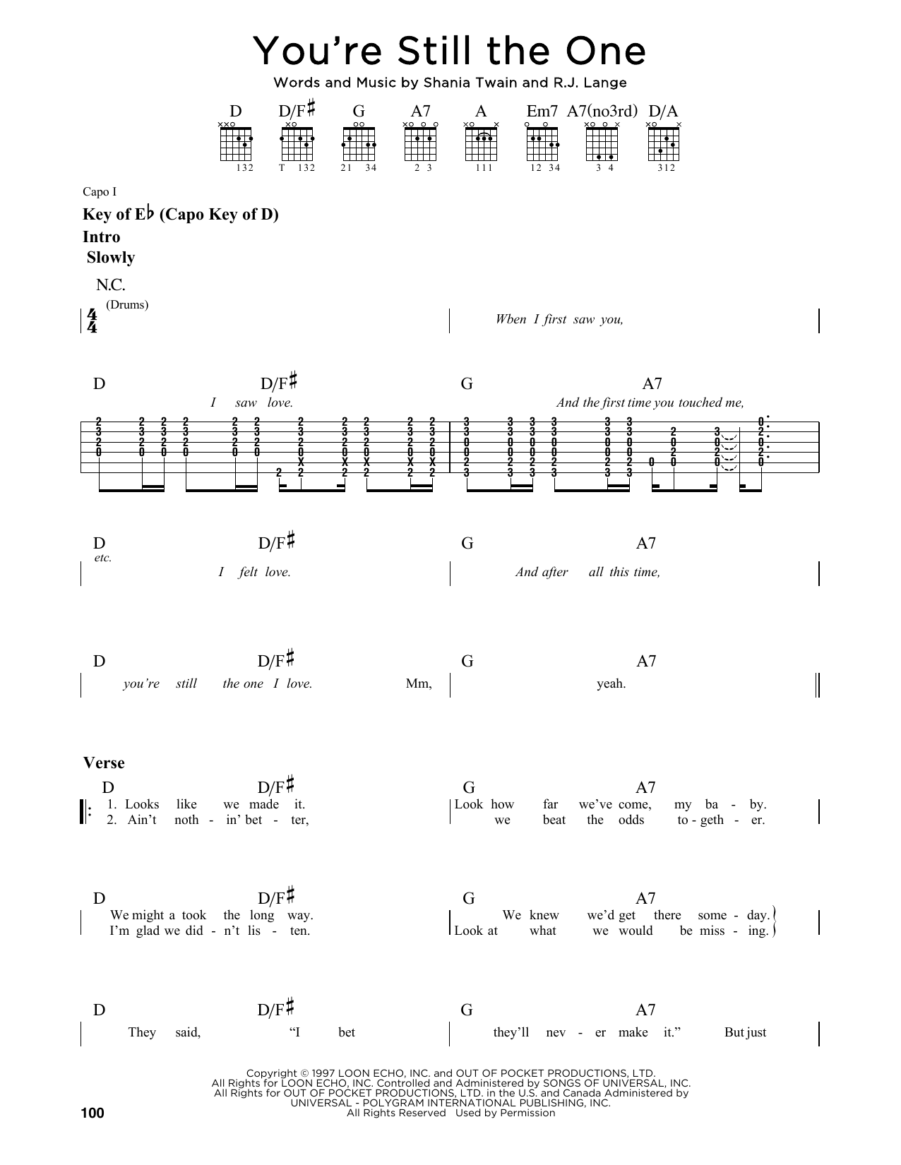 Partition autre You're Still The One de Shania Twain - Tablature Guitare Lead