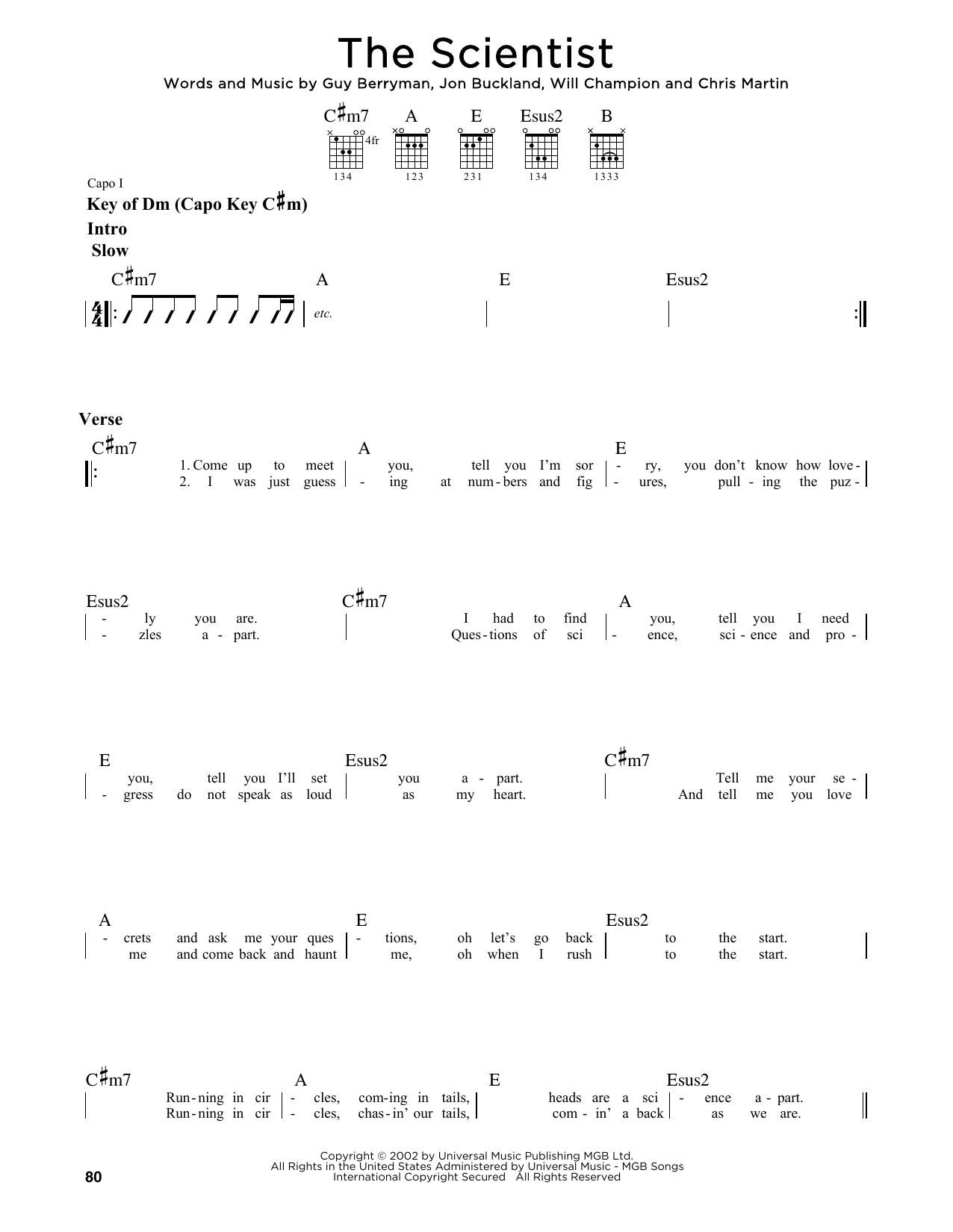 Partition autre The Scientist de Coldplay - Tablature Guitare Lead