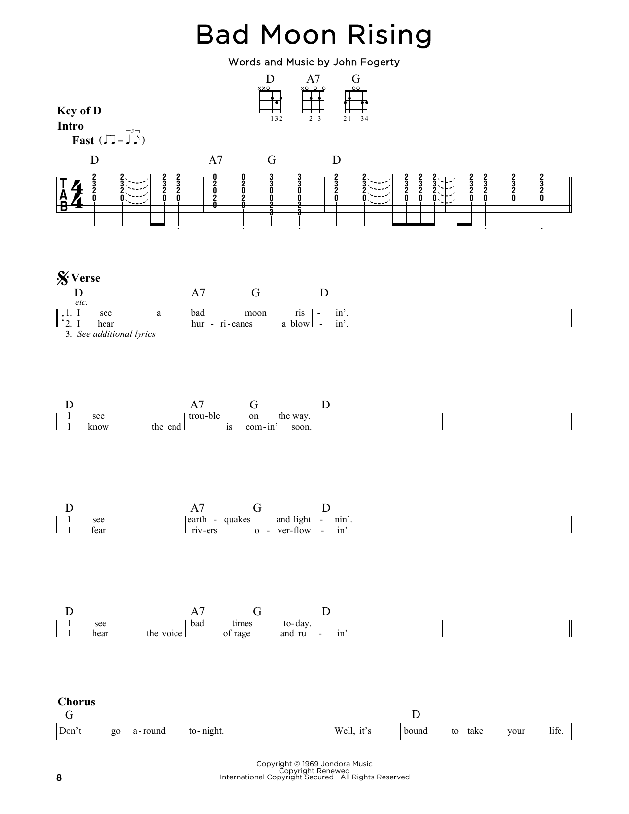 Partition autre Bad Moon Rising de Creedence Clearwater Revival - Tablature Guitare Lead