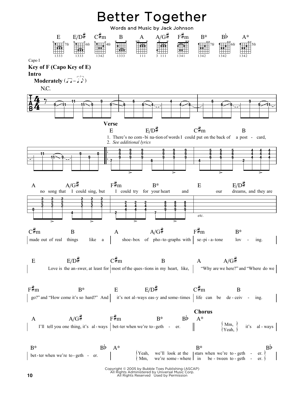 Partition autre Better Together de Jack Johnson - Tablature Guitare Lead