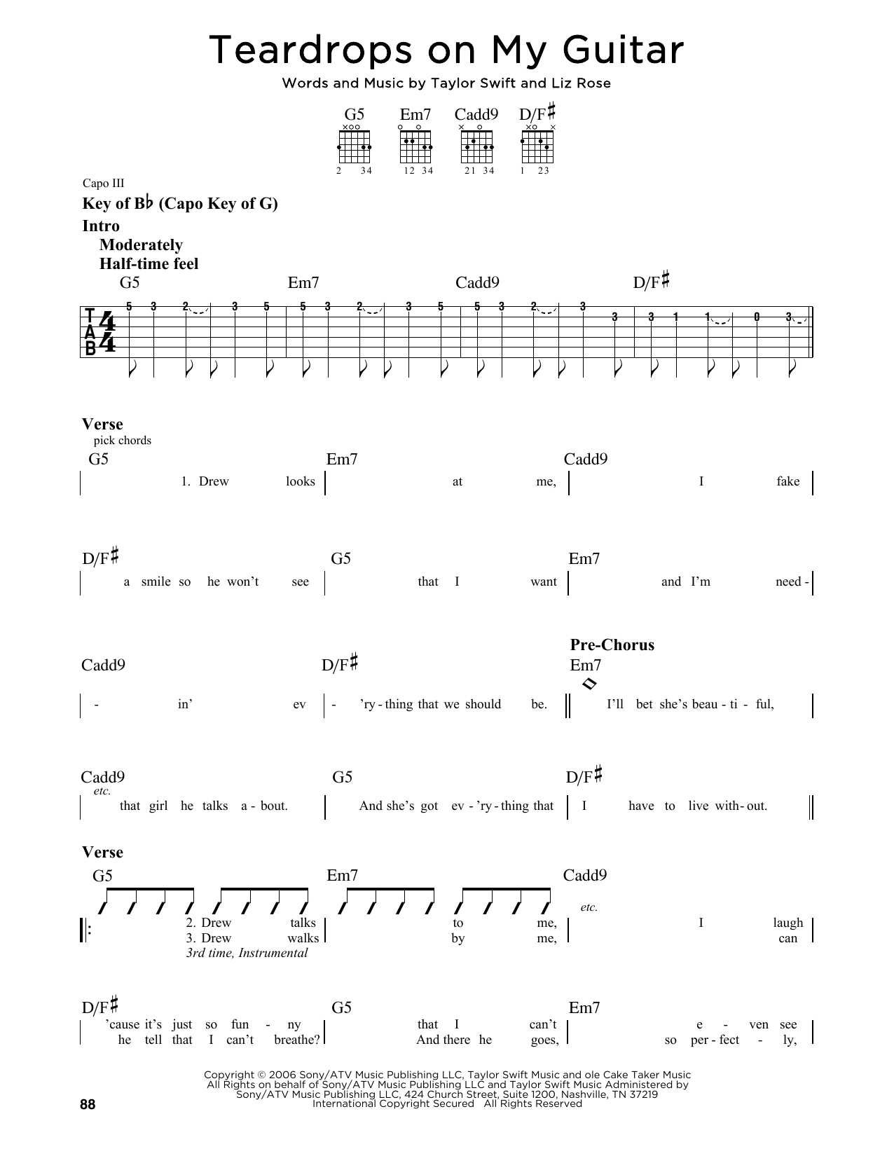 Partition autre Teardrops On My Guitar de Taylor Swift - Tablature Guitare Lead
