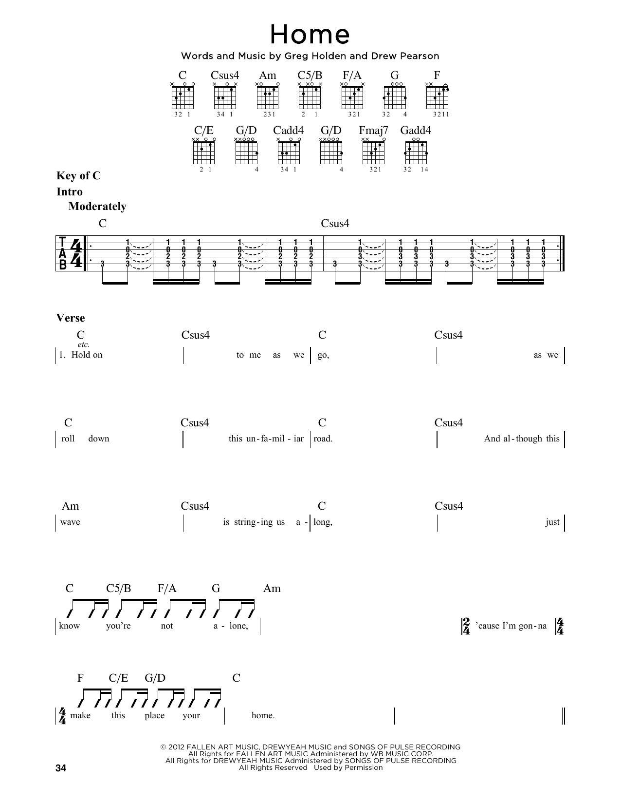 Partition autre Home de Phillip Phillips - Tablature Guitare Lead