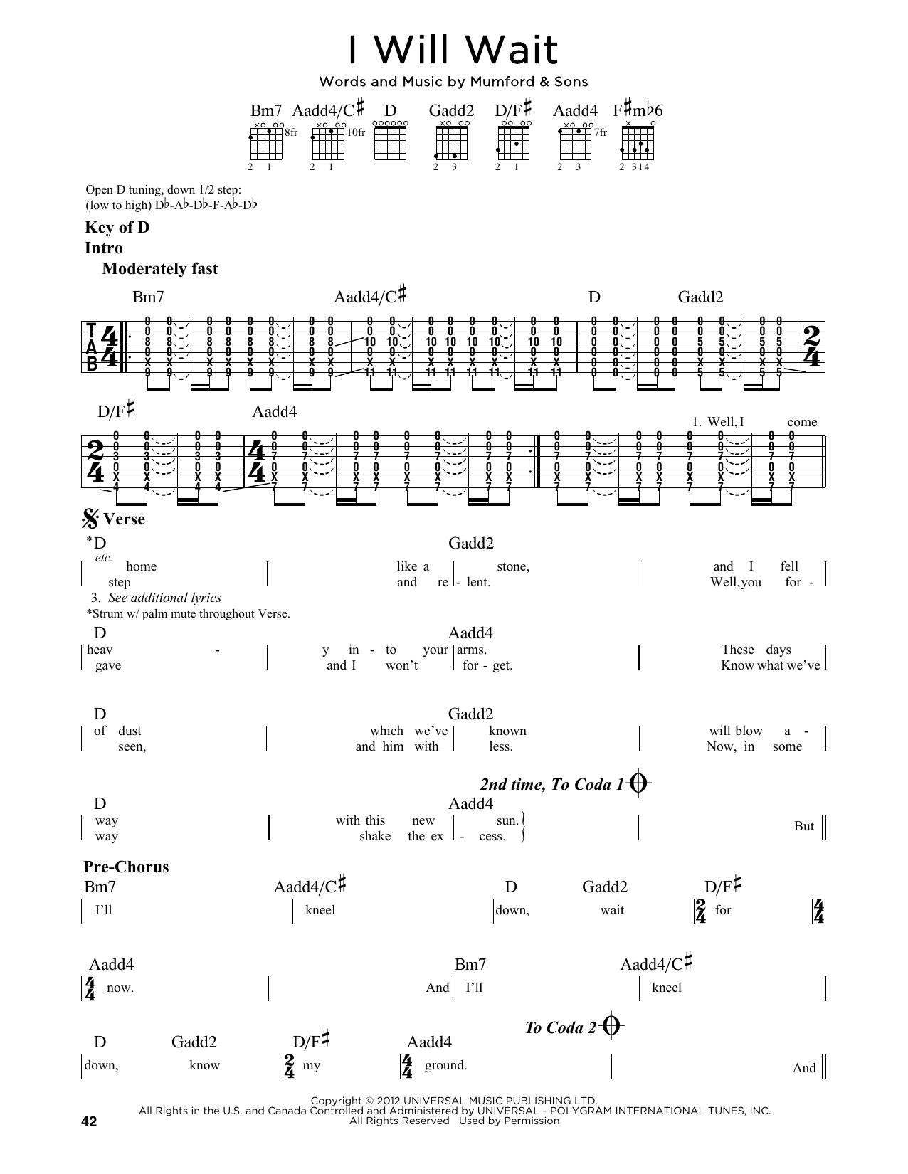 Partition autre I Will Wait de Mumford & Sons - Tablature Guitare Lead