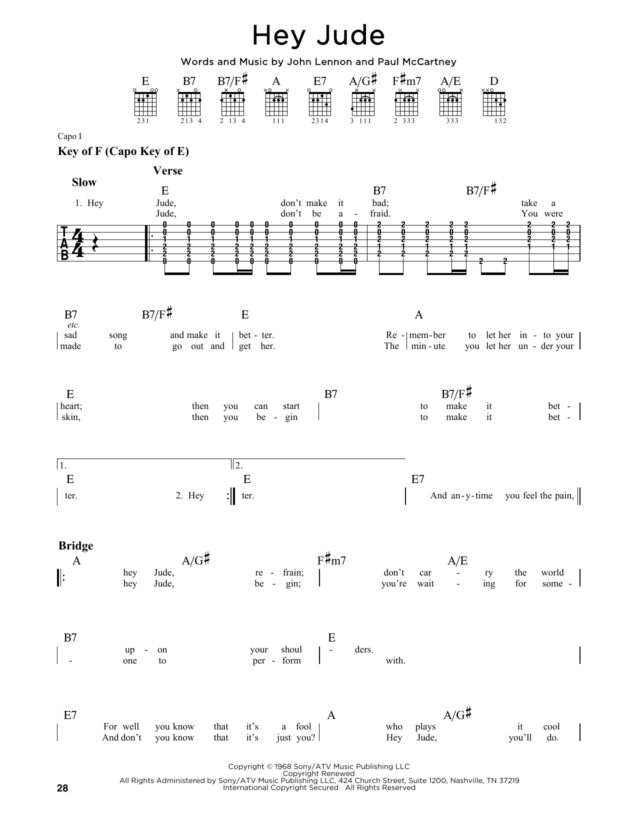 Partition autre Hey Jude de The Beatles - Tablature Guitare Lead