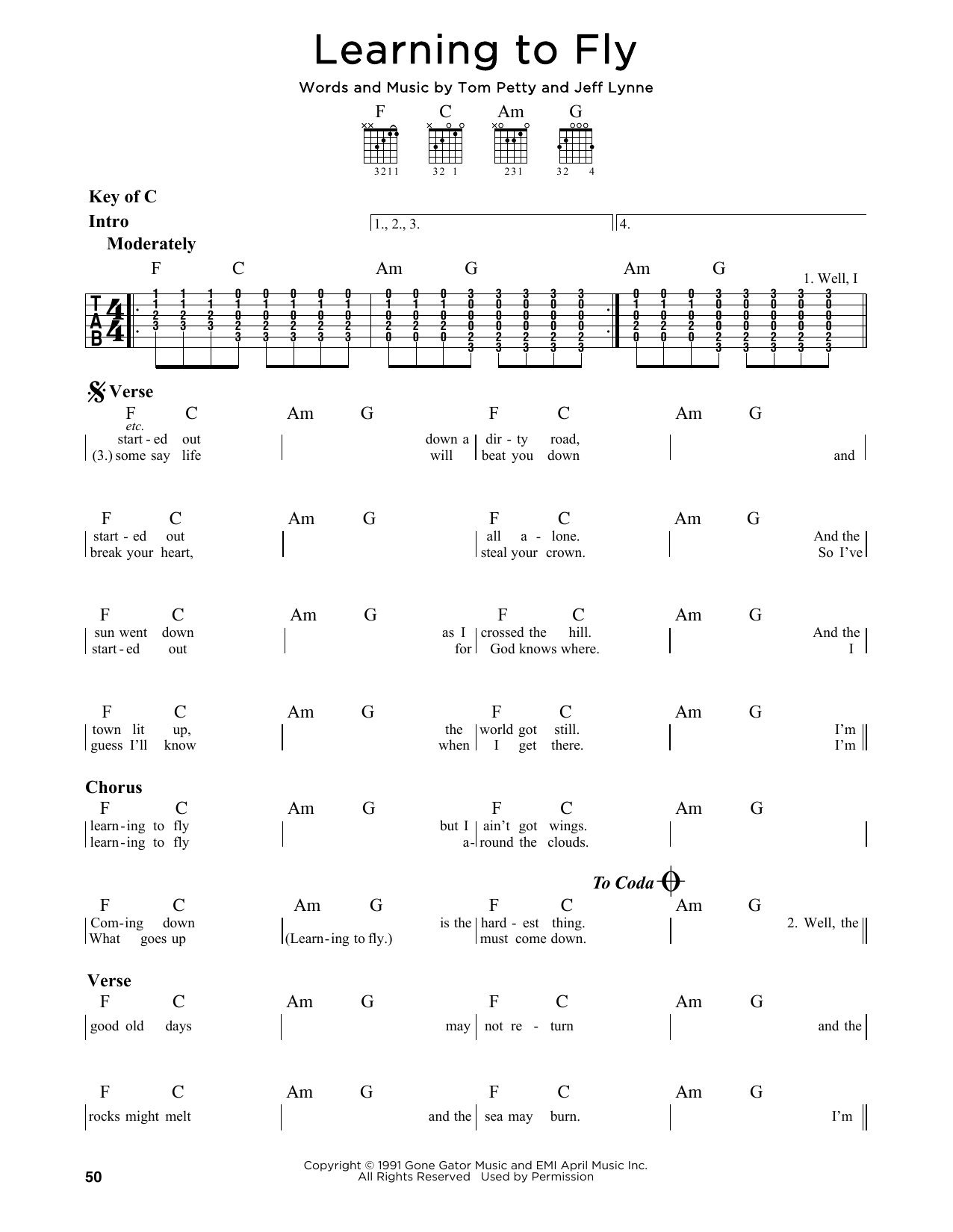 Partition autre Learning To Fly de Tom Petty - Tablature Guitare Lead
