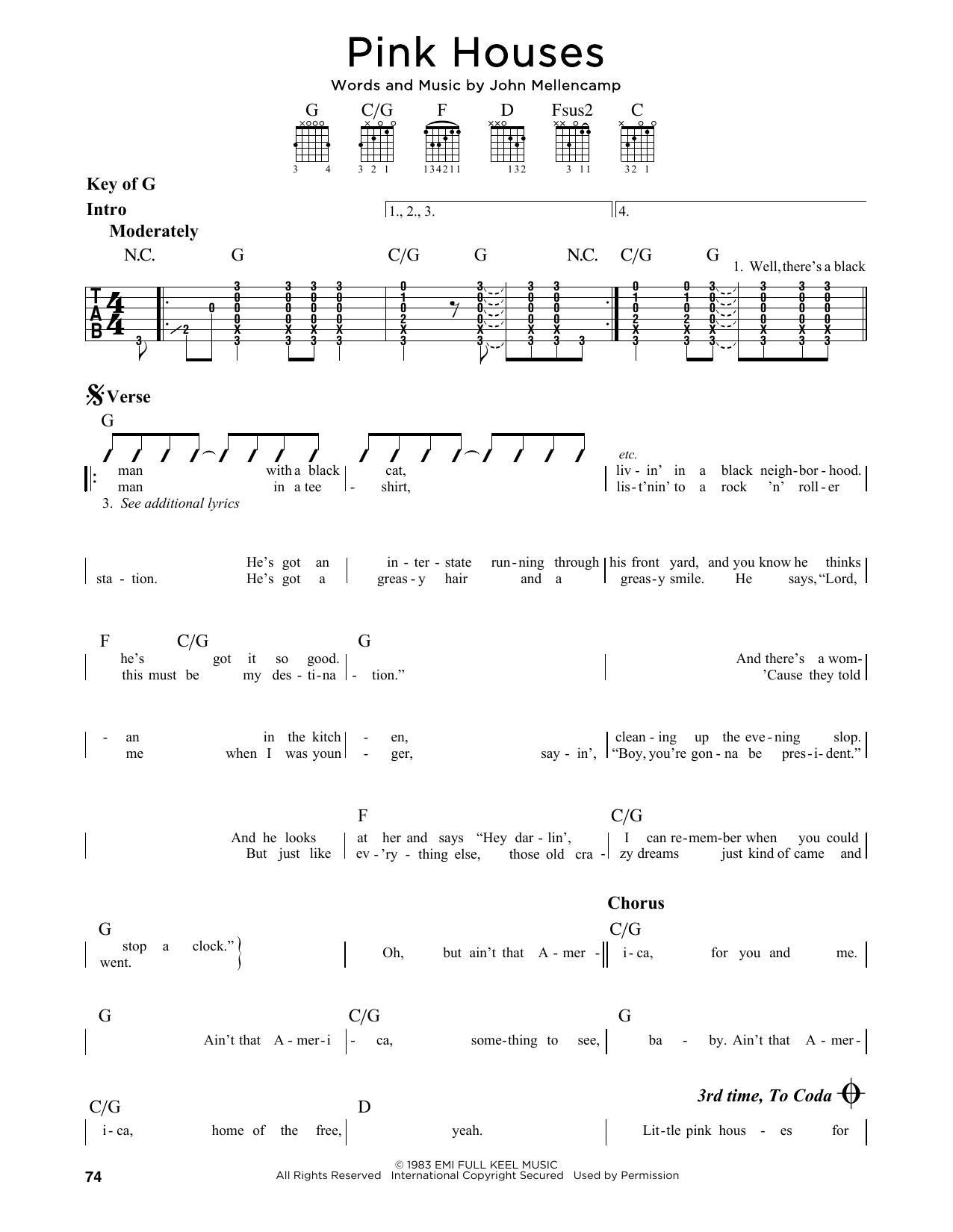 Partition autre Pink Houses de John Mellencamp - Tablature Guitare Lead