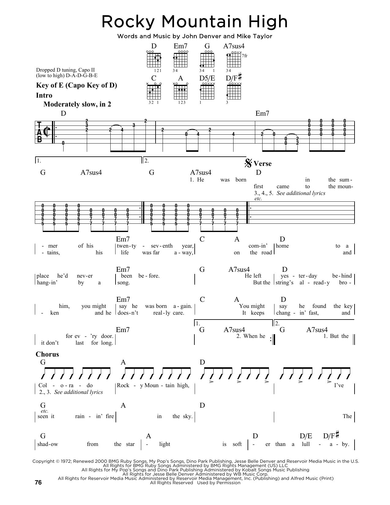 Partition autre Rocky Mountain High de John Denver - Tablature Guitare Lead