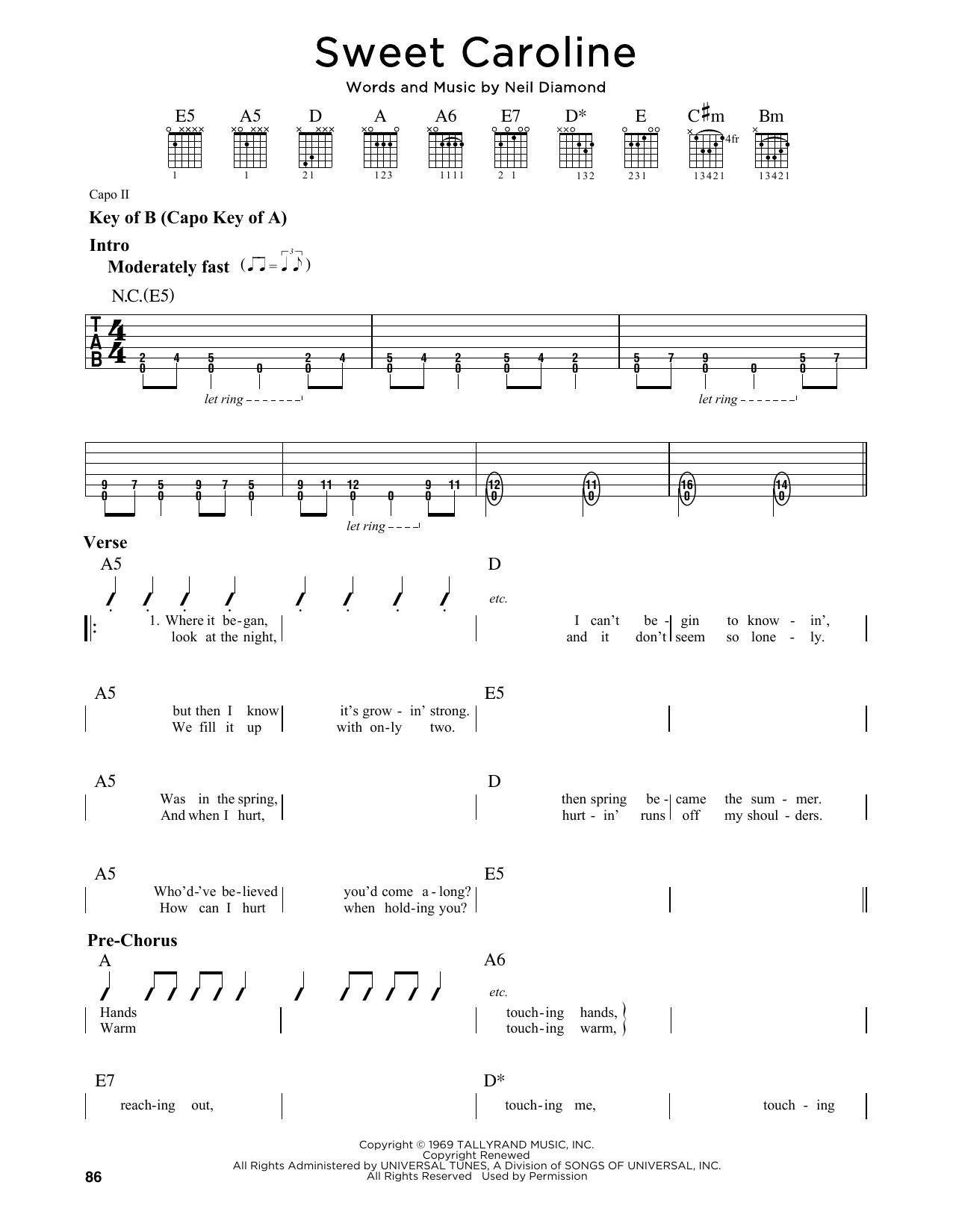 Partition autre Sweet Caroline de Neil Diamond - Tablature Guitare Lead